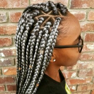 Grey Box Braids