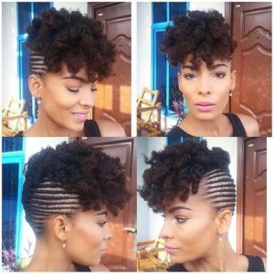 cornrowed updo with curls