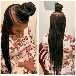 micro cornrows with top knot