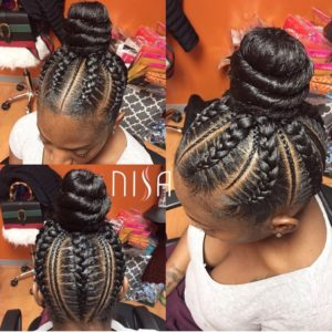feed in cornrows with topknot