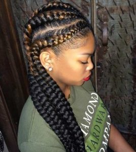 reverse ombre feed in cornrows