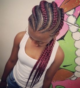 curved feed in cornrows