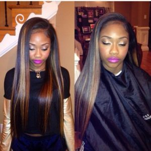 bone straight sew in highlights