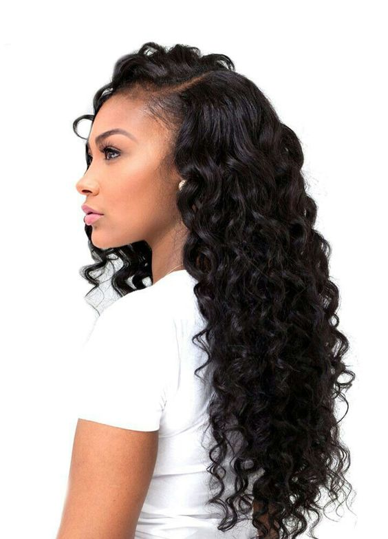 long curly sew in side part