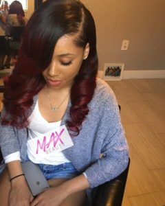 red ombre sew in