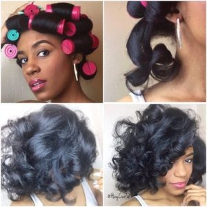 roller set natural hair
