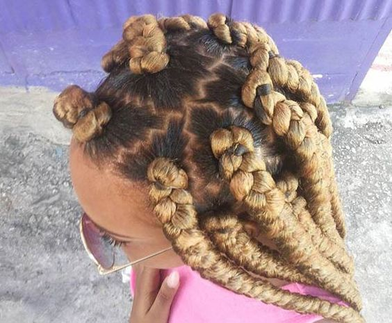 golden dookie braids zig zag part
