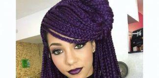 purple box braids with swoop bangs