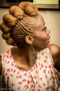 golden frohawk with flat twists