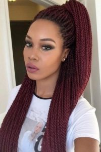 red rope twists high pony