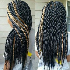 rope twists with blonde highlights
