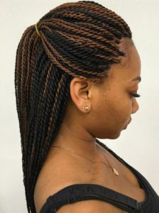 skinny rope twists with brown highlights