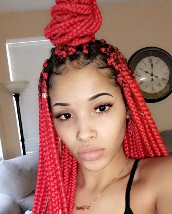 30 Awe Inspiring Red Box Braids Hairstyles You Will Love