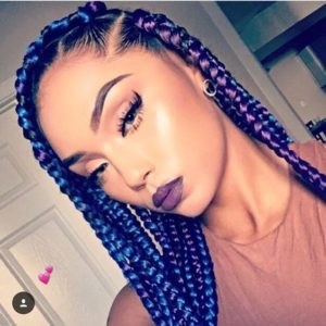 Blue And Purple Chunky Box Braids