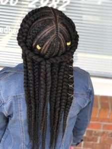 Feed In Braids With Halo Braid