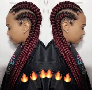 Sleek Red Feed In Cornrows