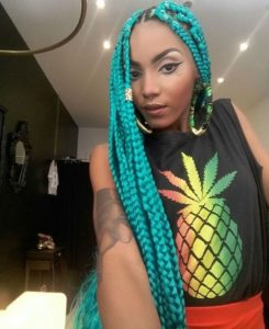 Teal Box Braids