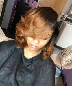 Golden Brown Sew In Bob With Swoop Bangs