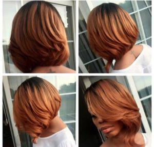 golden ombre asymmetrical bob