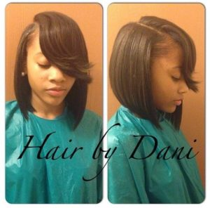 sew in bob with flipped bangs
