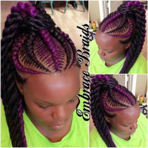 Black and Purple Fishbone Braids Ponytail