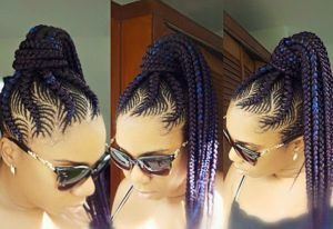 Colorful Fishbone Braids High Ponytail