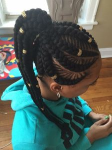 Fishbone Braids High Ponytail With Gold Beads