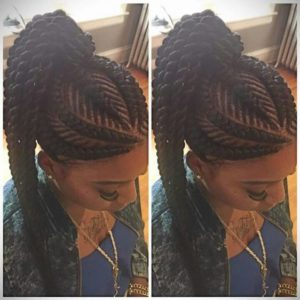 Fishbone Braids High Ponytail With Twists