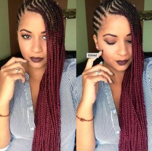 Dark Red Lemonade Braids Side Part