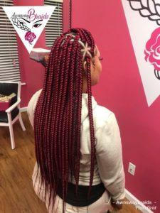 Long Red Triangle Box Braids