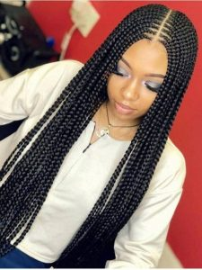 lemonade braids with middle part