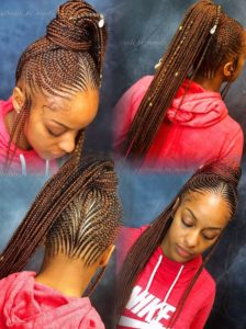 Reddish Brown Lemonade Braids High Ponytail