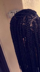 Triangle Box Braids With Cornrowed Parts