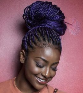 Dark Blue Box Braids High Bun