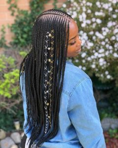 Middle Parted Tribal Braids With Beads and Cord