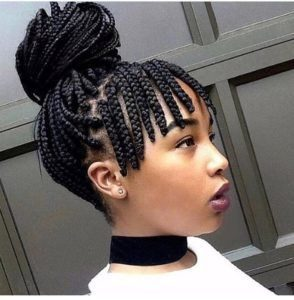 Small Box Braids With Bangs