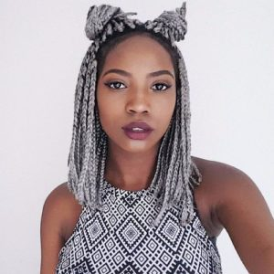 short grey box braids double buns