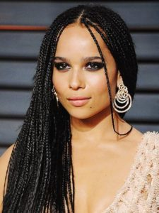 small box braids with middle part