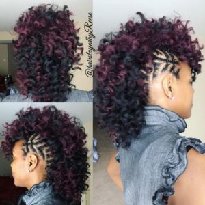 Braided Frohawk With a Touch of Purple