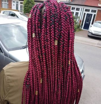 Burgundy Box Braids With Gold Beads