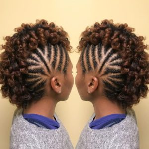 Curly Braided Frohawk on Transitioning Hair