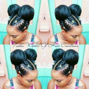 Double Buns With Beaded Cornrows