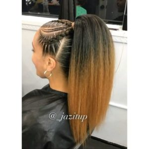 Ombre Ponytail With Cornrows