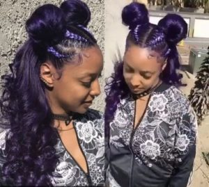Purple Double Buns With Braids