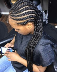 Curved Straight Back Cornrows