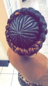 Halo Braid With Cornrowed Design