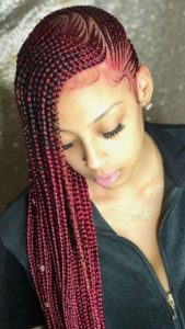 Red Sideswept Cornrows