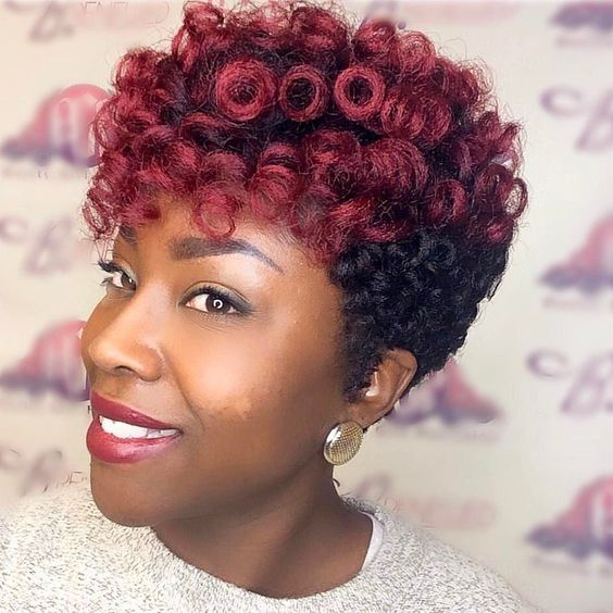 Red and Black Crochet Pin Curls