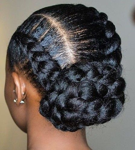 Chunky Stitch Braids Low Bun