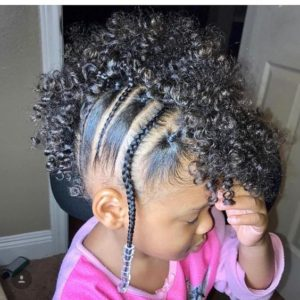 Curly Frohawk with Braids